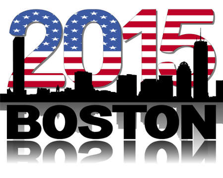 boston skyline: Boston skyline 2015 flag text