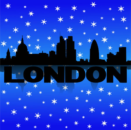 London skyline reflected with snow vector illustration Vector