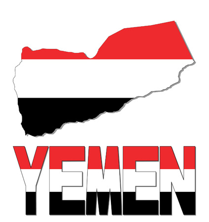 yemen: Yemen map flag and text vector illustration Illustration