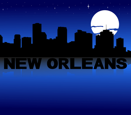 new orleans: New Orleans skyline reflected with text and moon illustration