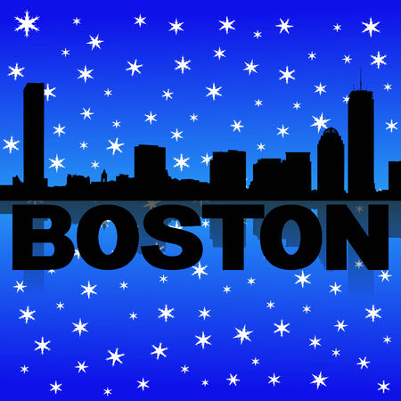 iciness: Boston skyline reflected with snow illustration