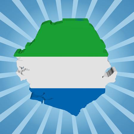 Sierra Leone map flag on blue sunburst illustration illustration