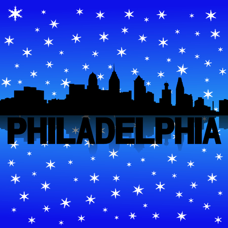 iciness: Philadelphia skyline reflected with snow illustration