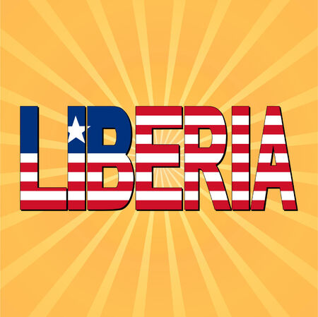 liberia: Liberia flag text with sunburst vector illustration