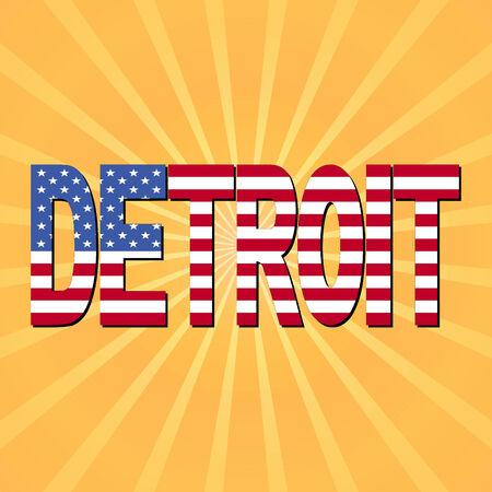 detroit: Detroit flag text with sunburst illustration