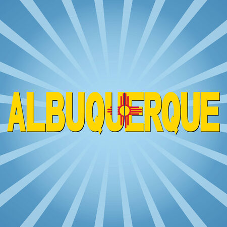 albuquerque: Albuquerque flag text with sunburst illustration