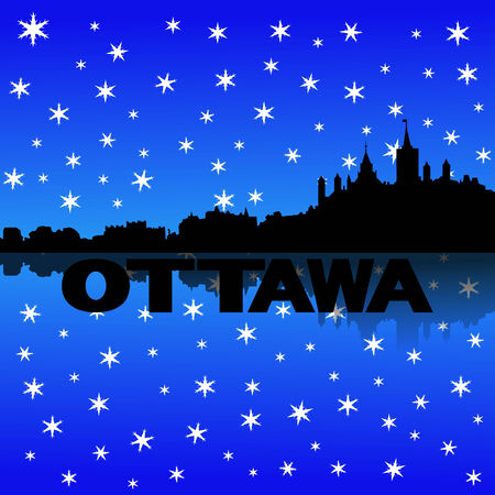iciness: Ottawa skyline reflected with snow illustration