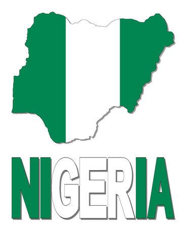 Nigeria map flag and text illustration illustration
