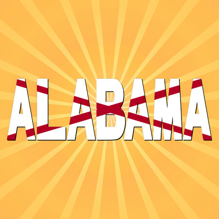 city background: Albama flag text with sunburst  illustration Stock Photo