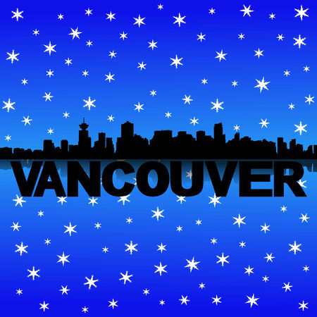 iciness: Vancouver skyline reflected with snow illustration Stock Photo