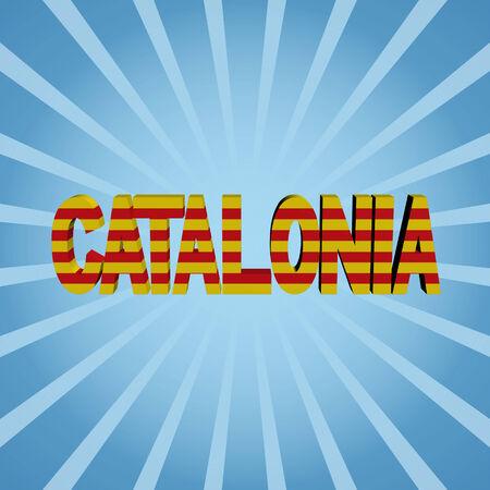 catalonia: Catalonia flag text on blue sunburst illustration