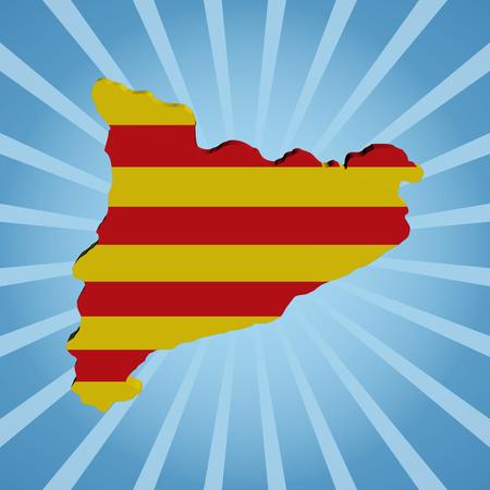 catalonia: Catalonia map flag on blue sunburst illustration Stock Photo