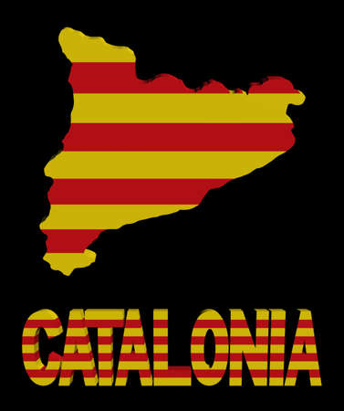 catalonia: Catalonia map flag and text illustration