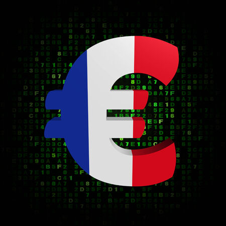 hex: Euro symbol with French flag on hex code illustration