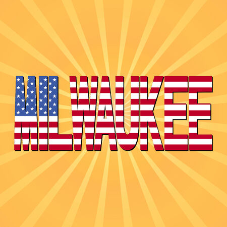 milwaukee: Milwaukee flag text with sunburst illustration