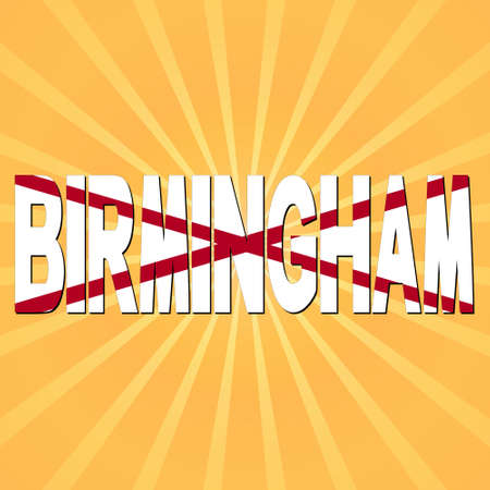 birmingham: Birmingham flag text with sunburst illustration Stock Photo