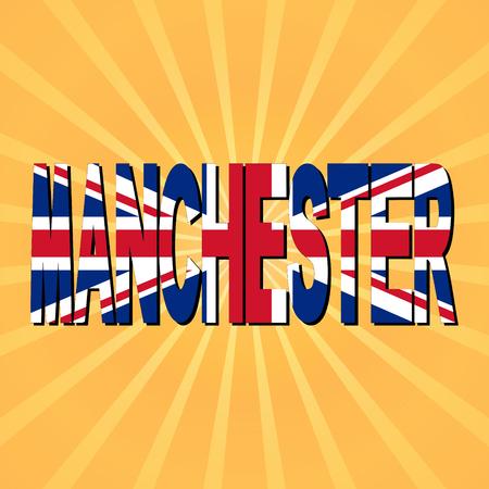 manchester: Manchester flag text with sunburst illustration