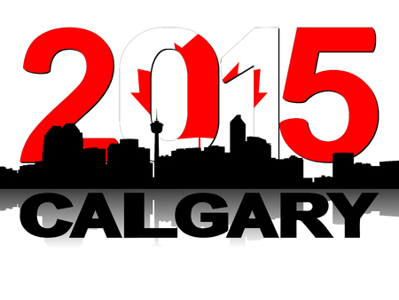 calgary: Calgary skyline 2015 flag text illustration Stock Photo