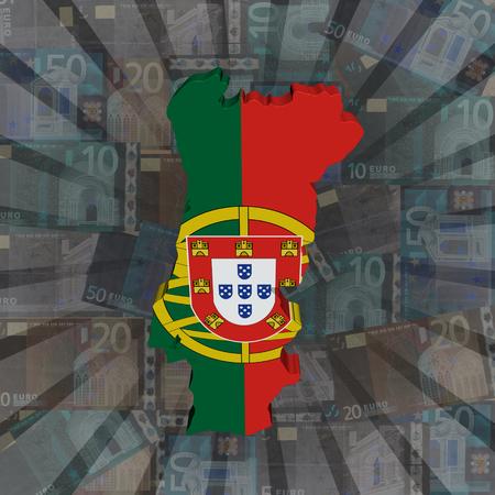 bandera de portugal: Portugal mapa de la bandera de euros sunburst ilustraci�n