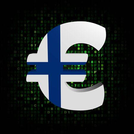 finnish: Euro symbol with Finnish flag on hex code illustration Stock Photo