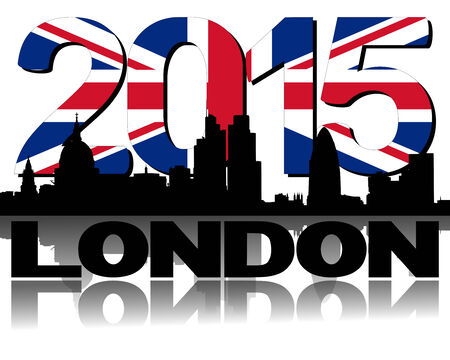 London skyline 2015 flag text illustration