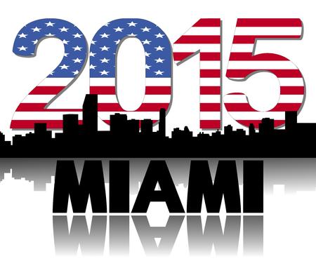 Miami skyline 2015 flag text illustration illustration