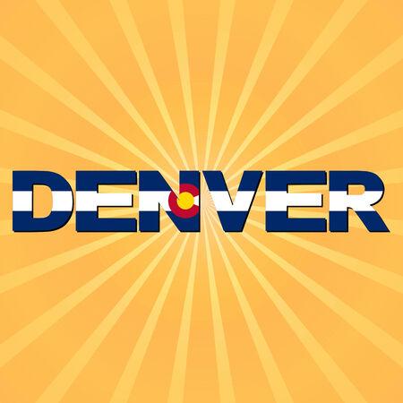 Denver flag text with sunburst illustration