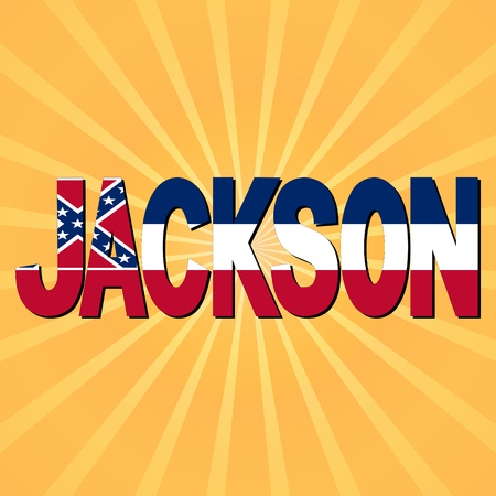 Jackson flag text with sunburst illustration illustration
