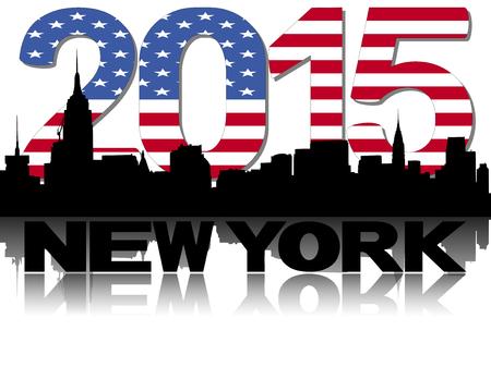 new york skyline: New York skyline 2015 flag text illustration Stock Photo