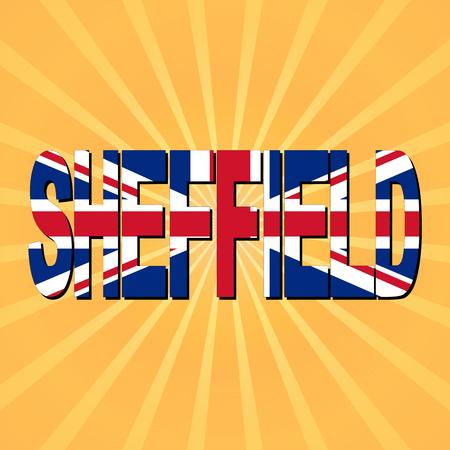 sheffield: Sheffield flag text with sunburst illustration Stock Photo