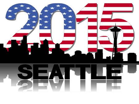 Seattle skyline 2015 flag text illustration