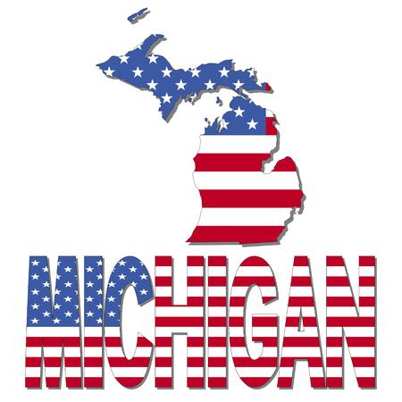 michigan: Michigan map flag and text illustration