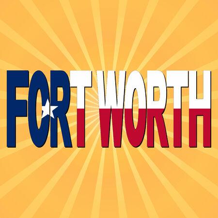 fort worth: Fort Worth flag text with sunburst illustration