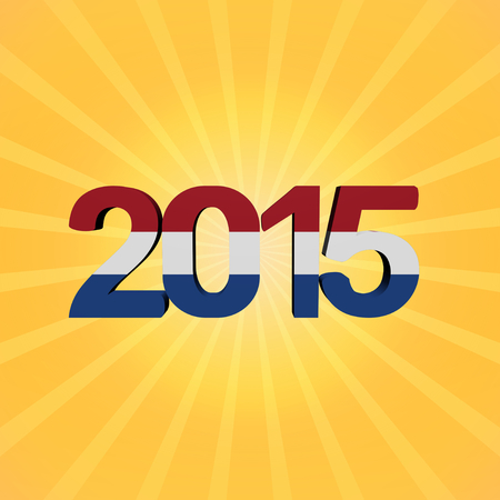 dutch: Dutch flag 2015 text on sunburst illustration
