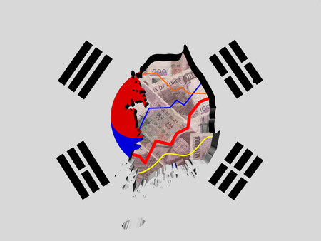 won: South Korea map with flag and graphs on Won illustration