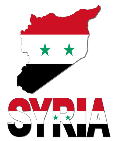 syria: Syria map flag and text illustration