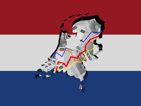 netherlands map: Netherlands map with flag and graphs on Euros illustration