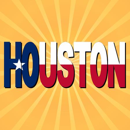 houston: Houston flag text with sunburst illustration