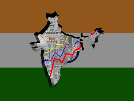 rupees: India map with flag and graphs on Rupees illustration Stock Photo