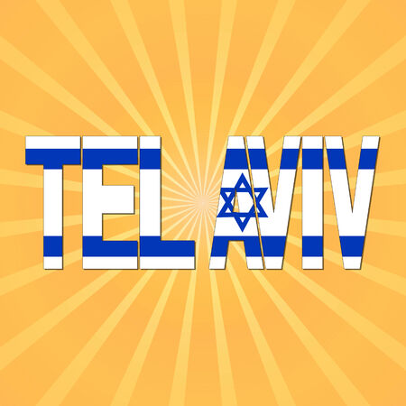 tel: Tel Aviv flag text with sunburst illustration