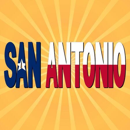 san rays: San Antonio flag text with sunburst illustration