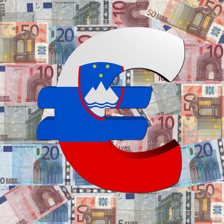 slovenian: Euro symbol with Slovenian flag on Euro currency illustration
