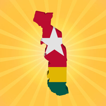 togo: Togo map flag on sunburst illustration