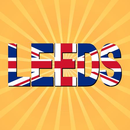 leeds: Leeds flag text with sunburst illustration Stock Photo