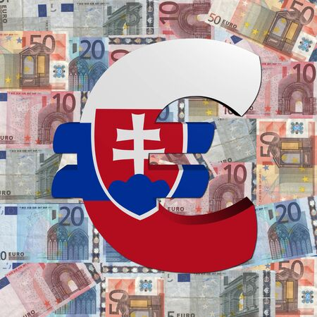 slovakian: Euro symbol with Slovakian flag on Euro currency illustration Stock Photo
