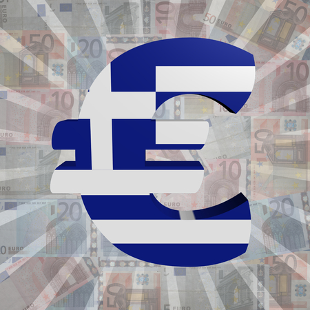 greek currency: Euro symbol with Greek flag on Euro currency illustration