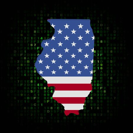 Map Of The State Of Illinois And American Flag Stock Photo - Us map illinois state