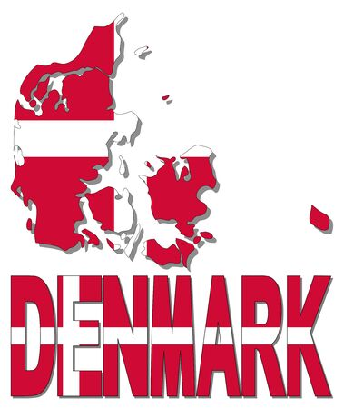 realm: Denmark map flag and text illustration