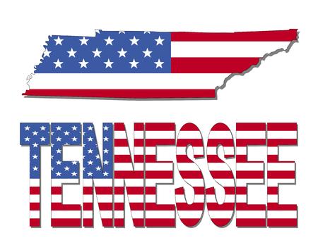 tennesse: Tennessee mapa de la bandera y de la ilustraci�n de texto