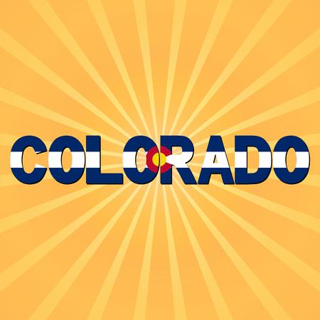 flag of colorado: Colorado flag text with sunburst illustration